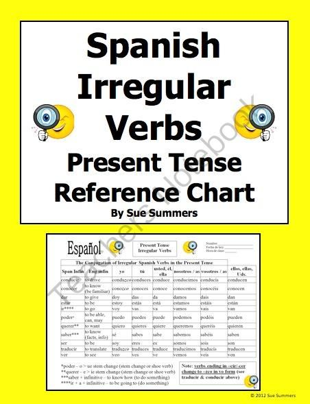 Spanish Irregular Verbs Conjugation Reference In The Present Tense From Sue Summers On Teachersnote Spanish Irregular Verbs Present Tense Verbs Irregular Verbs