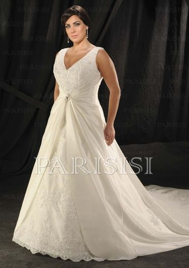 Plus Size Wedding Dress Satin White V-Neck Long A-Line price USD ...