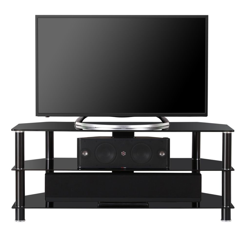 Fenge Glass Tv Stand Media Entertainment Center For Up To 50 Inch Tv