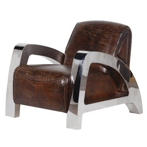 Chunky Chrome and Aged Leather Armchair furniture Pinterest