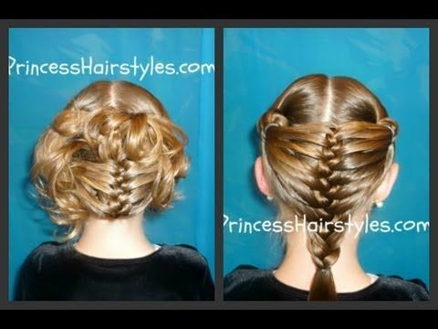 Mermaid Fin Braid And Updo Hairstyle Hairstyles For Girls Hair Styles Braided Hairstyles Princess Hairstyles