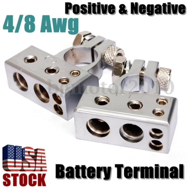 4 8 Gauge Awg Battery Terminal Car Silver Chrome Positive Negative Heavy Duty Car Battery Battery Terminal Battery