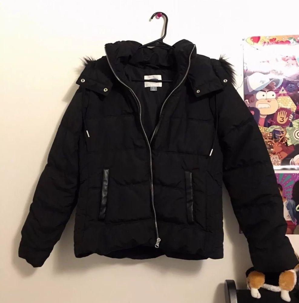 Women S Black Winter Coat Fur Trim Old Navy Petite Size Small Black Winter Coat Black Winter Coats Women Winter Fur Coats [ 1000 x 988 Pixel ]