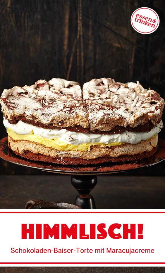 Rezept für Schokoladen-Baiser-Torte mit Maracujacreme