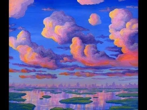 How To Paint Clouds At Sunset With Acrylic Complete Painting