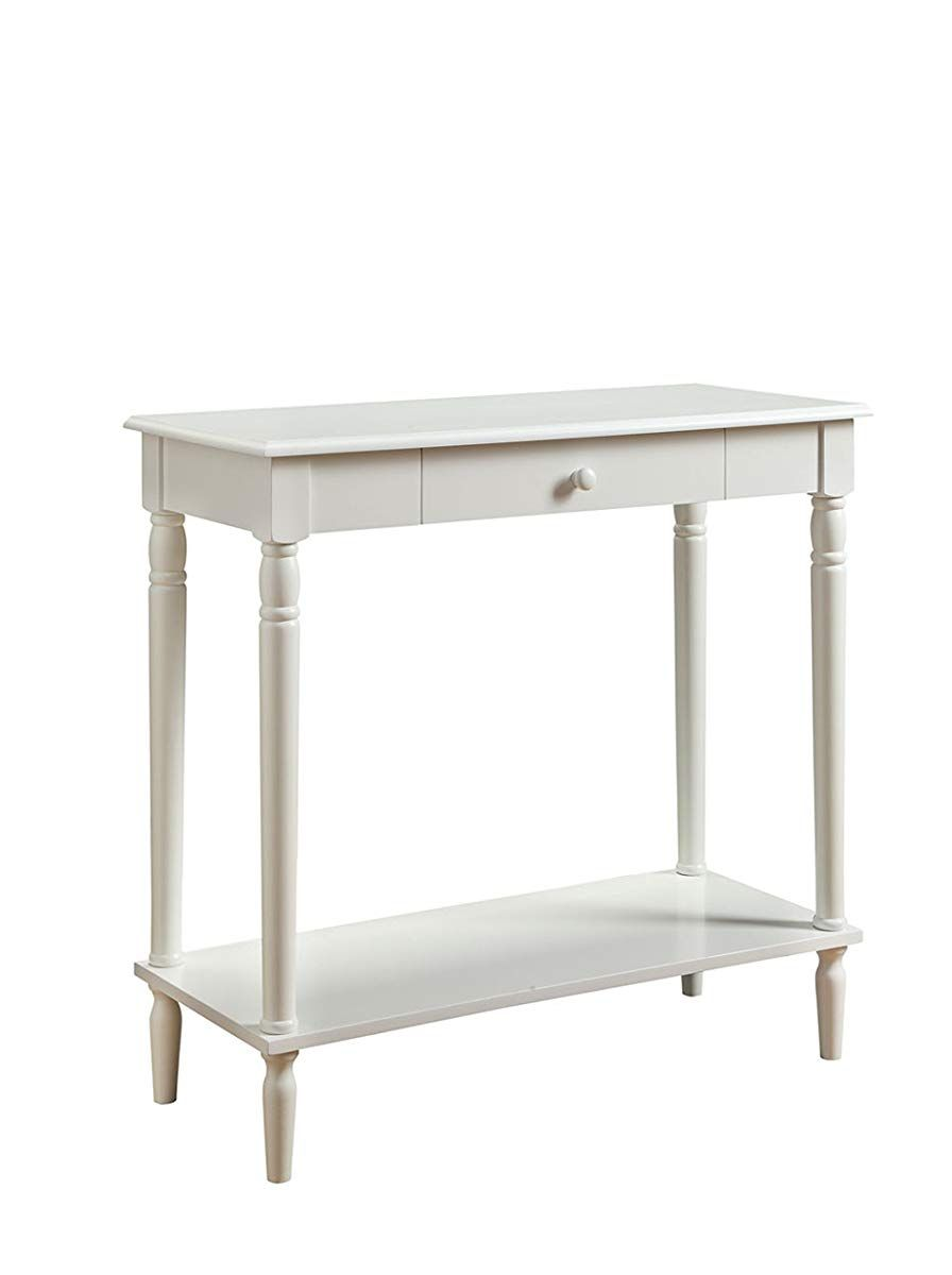 Convenience Concepts French Country Hall Table With Drawer And Shelf White Hall Table Convenience Concepts Sofa Table With Drawers