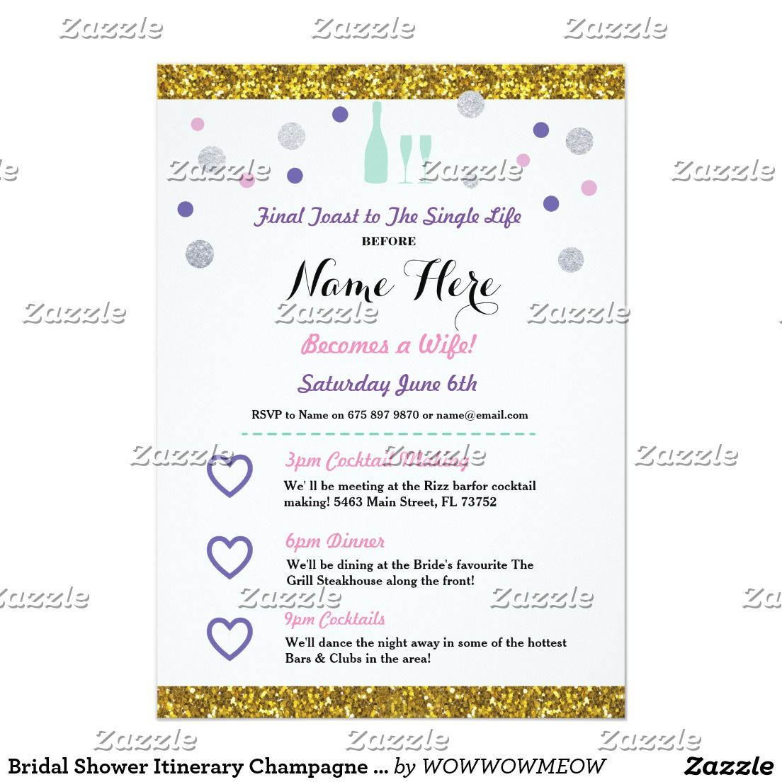 Bridal Shower Itinerary Champagne Invitation Zazzle Com Wedding Itinerary Template Wedding Itinerary Wedding Weekend Itinerary