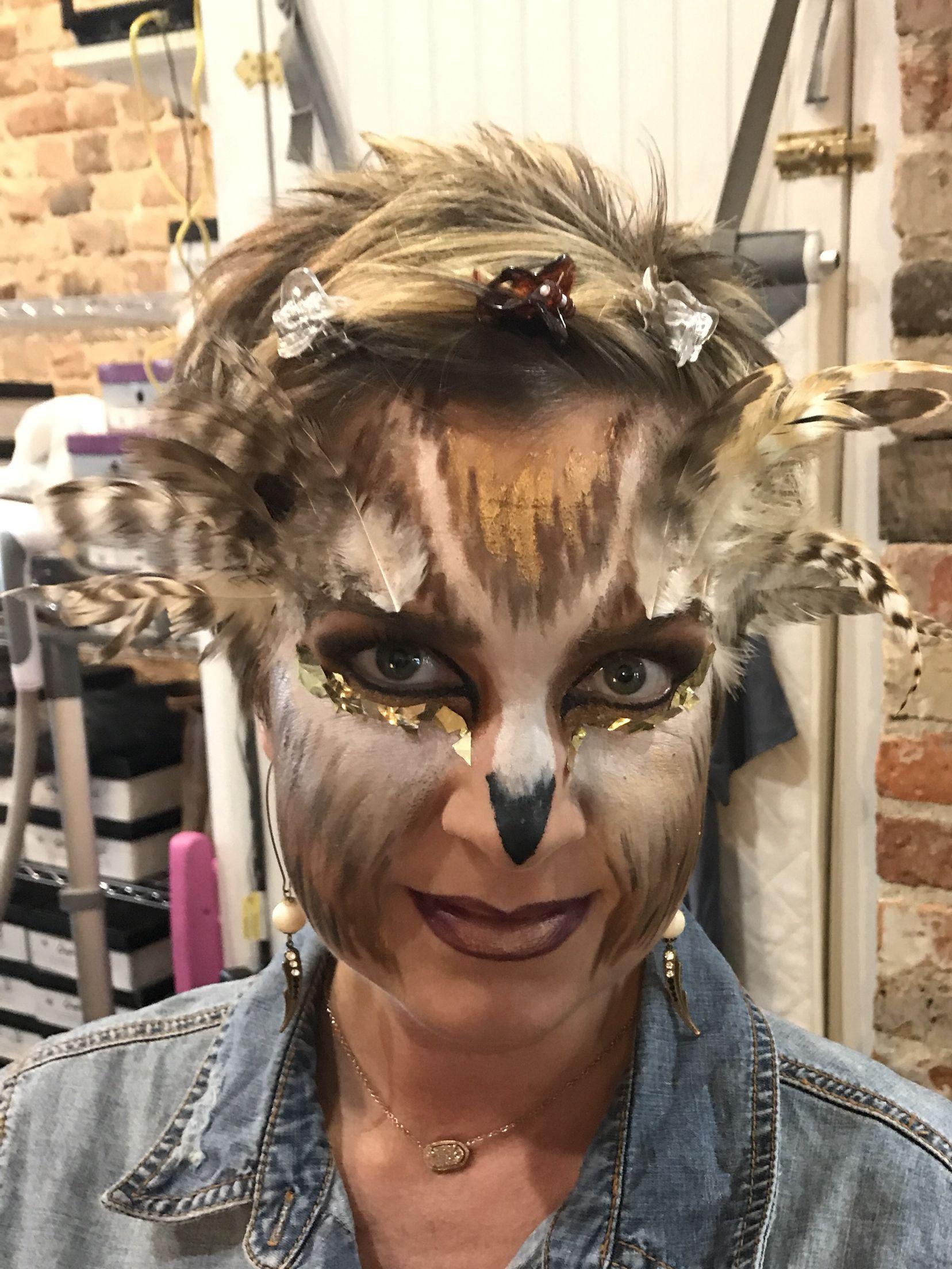 Glam owl makeup Owl makeup, Makeup, Halloween face makeup