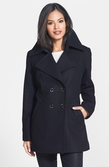 Trina Turk Angle Seam Wool Blend Peacoat available at #Nordstrom