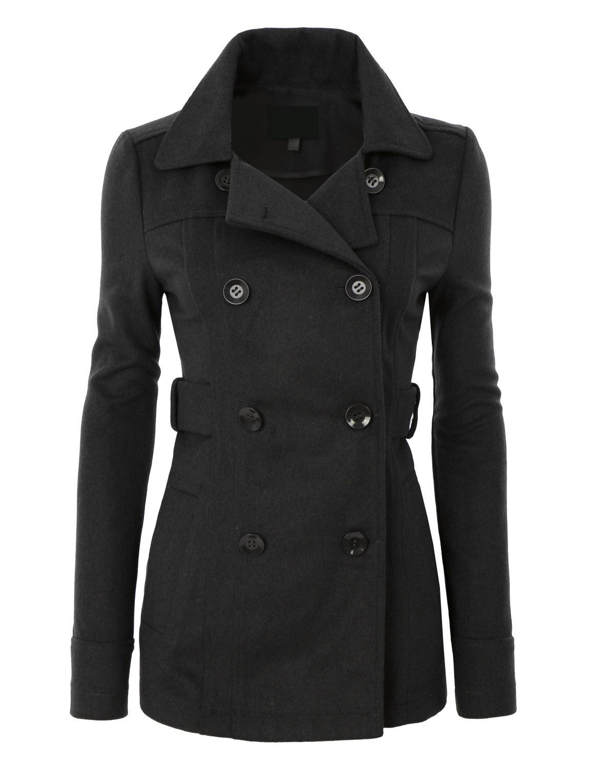 Womens Long Button Down Double Breasted Peacoat Jacket With ...
