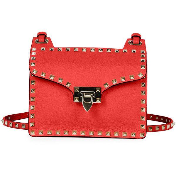 Valentino.  Rockstud Lock-Flap Square Shoulder Bag, Red.  Valentino calf leather shoulder bag.  Signature Rockstud trim.  Adjustable shoulder strap.  Flap top …