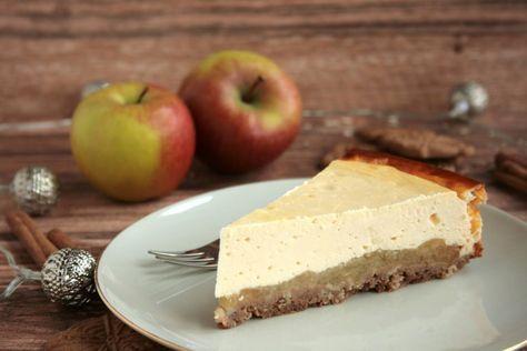 Käsekuchen mit Zimtäpfeln und Spekulatiusboden {Calendar of Ingredients} - #kuchentisch