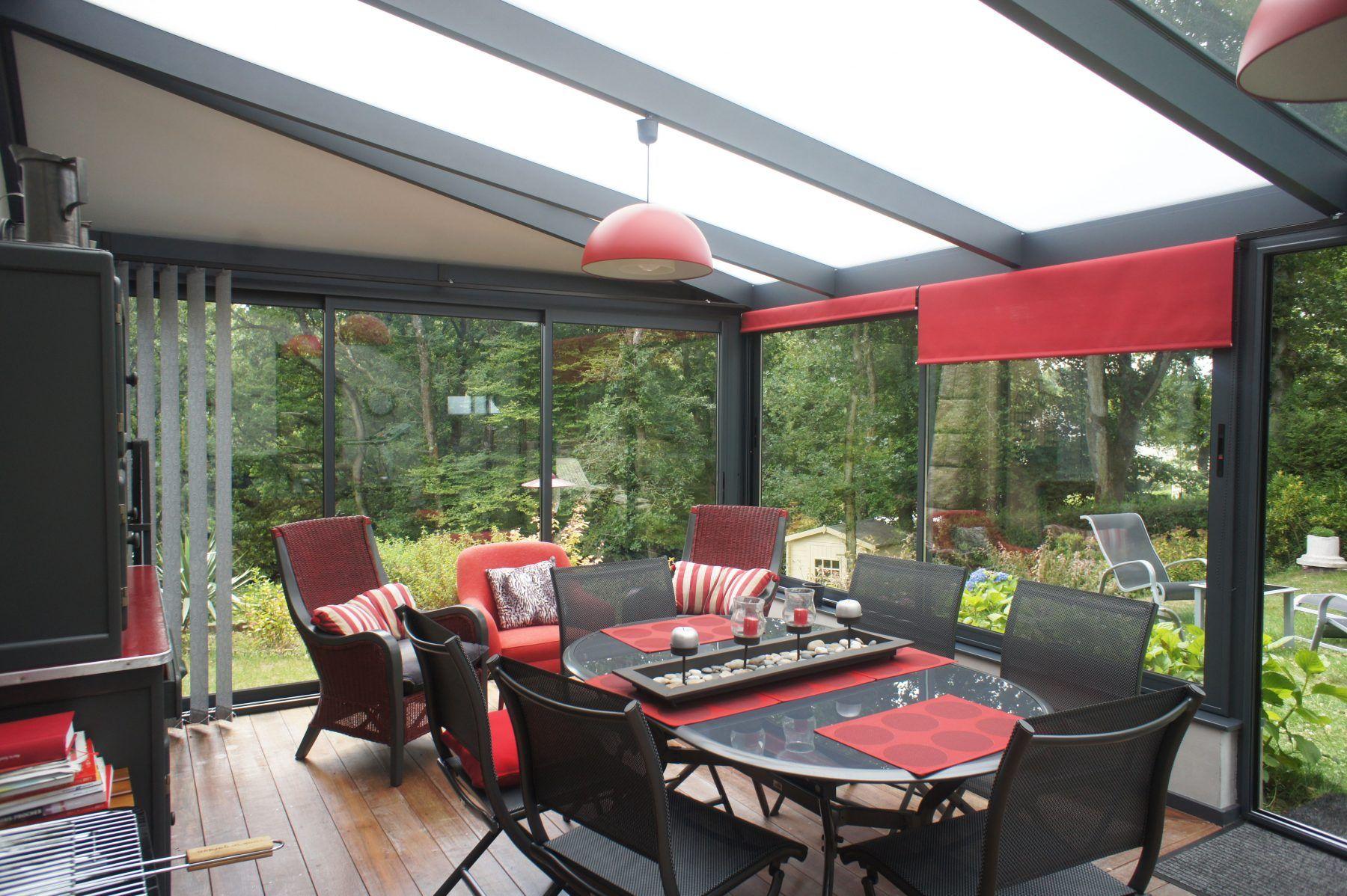 Veranda Jardin Hiver Avec Toiture Equipee De Panneau Sandwich De Polycarbonate Et De Verre Veranda Toiture Veranda Decoration Exterieur
