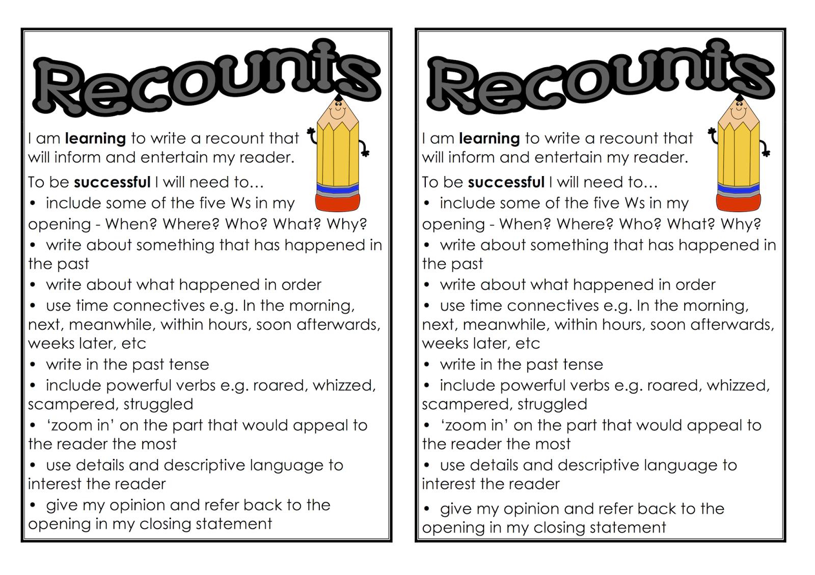 Recount Checklist For Children S Books Classroom