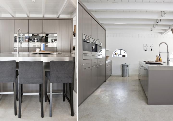 Grijze Keuken Modern : Moderne grijze keuken combineert prachtig op een lichte vloer