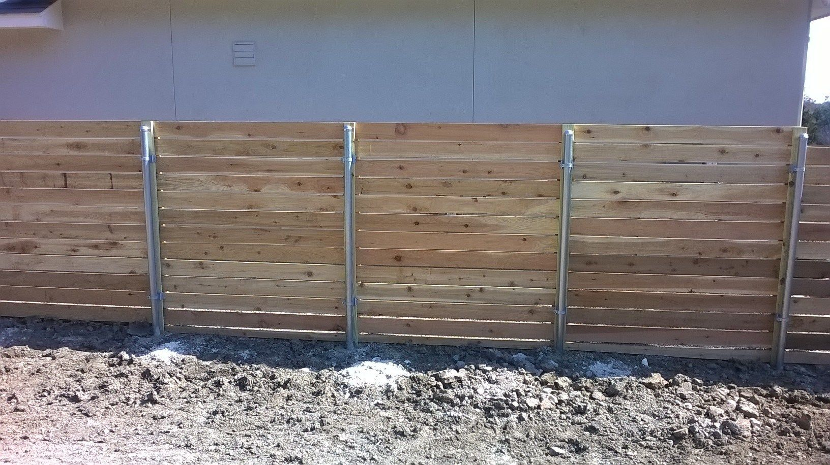 6 tall horizontal 16 cedar wgalvanized steel posts