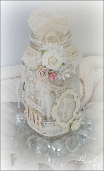 Ivc689 S Gallery Goodie Jar Shabby Chic Crafts Bottle Crafts Altered Bottles
