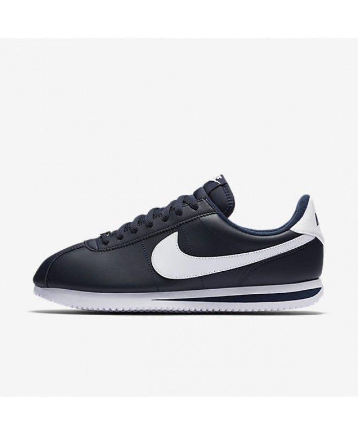 Nike Cortez Basic Leather Obsidian Metallic Silver White 819719-410