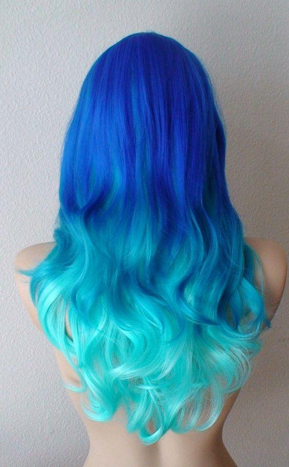 Blue Wig Blue Ombre Wig Pastel Wig Long Wavy Hair Wig