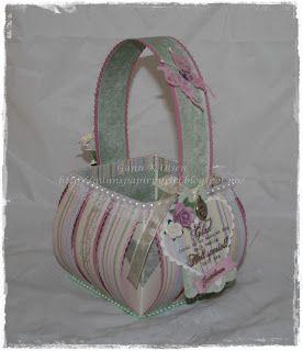 Gunns Papirpyssel, kurv, basket, Maja Design, papirbretting, paperfolding, 3D, bretting, scrapbooking, scrapping, bursdag, birthday, paper, papir