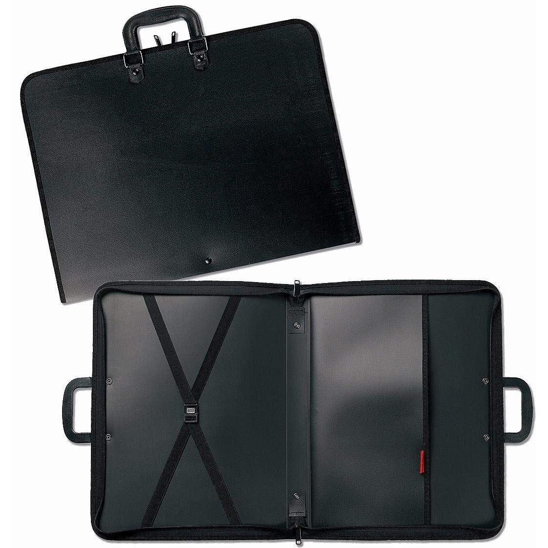 Black Lightweight Cover with Inside Pockets and Straps for Organization 22 X 17 X 3 inches Prat Start 1 Portfolio Handle for Transport S1-1222