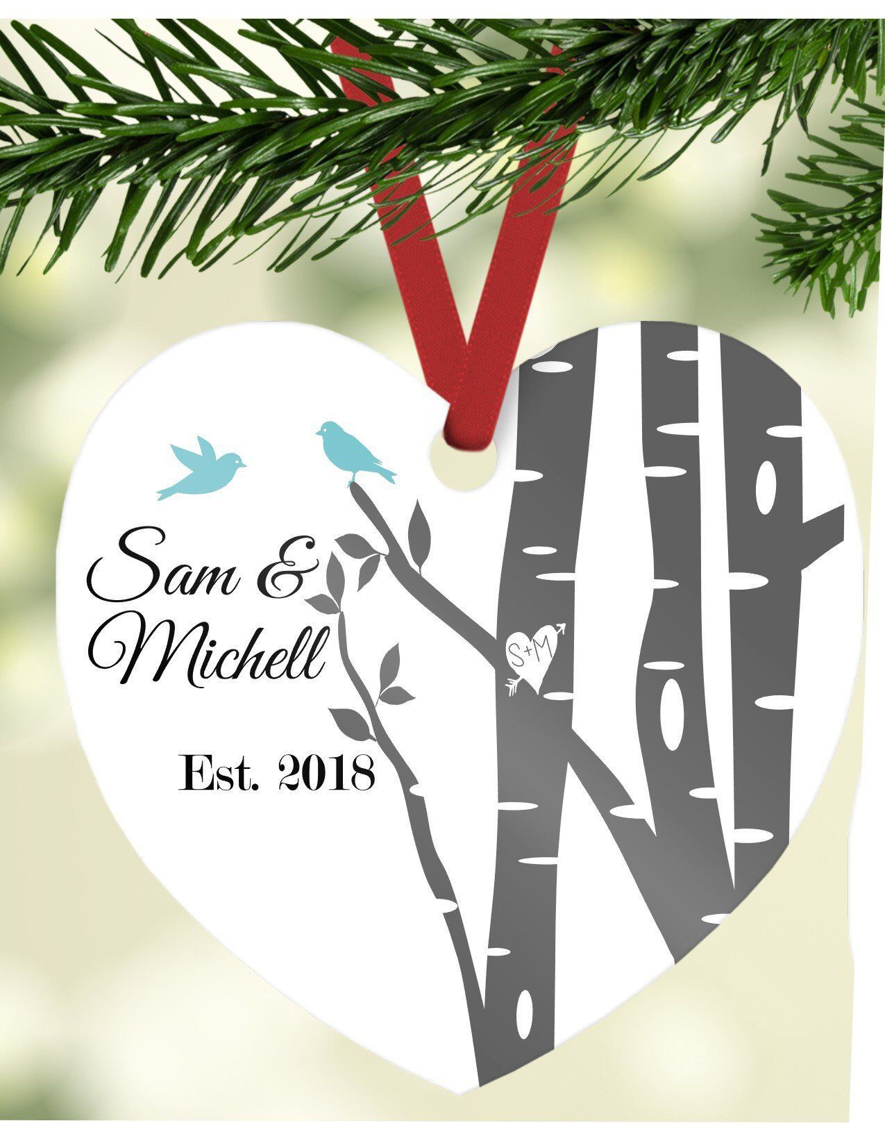 Excited To Share This Item From My Etsy S Christmas Ornament Engagement Custom Birch Tree Personalized Wedding