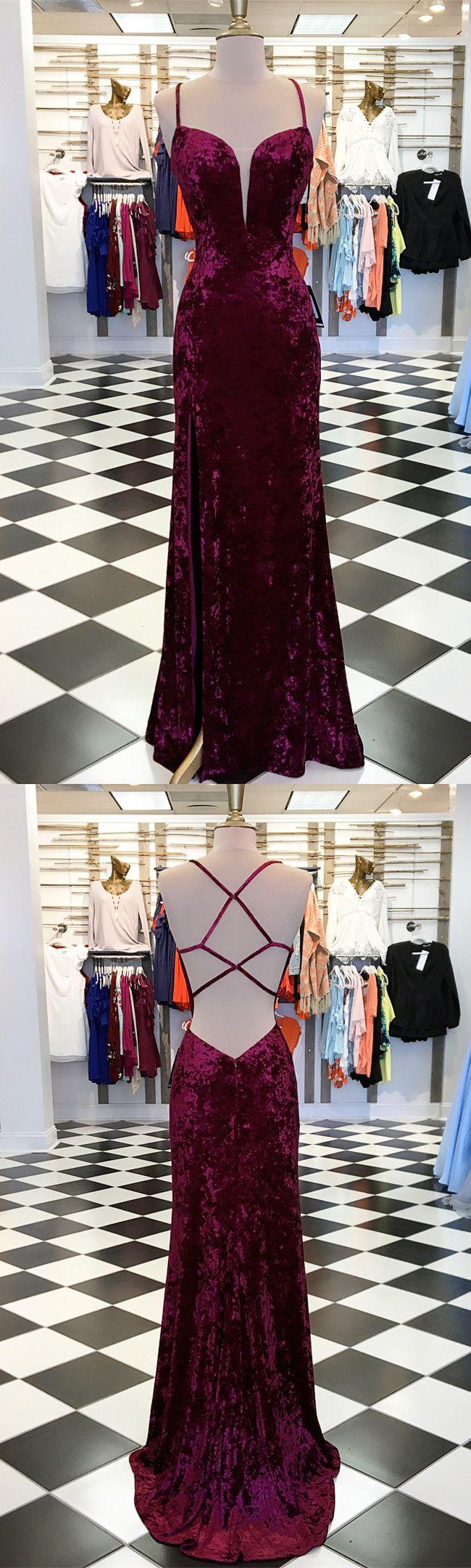 Elegant burgundy velvet mermaid long prom dress with slit from