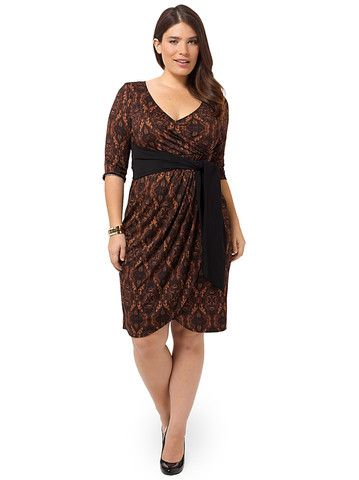 fd42a2855e1e Plus Size KIYONNA Harlow Faux Wrap Dress In Moroccan Henna | dyt ...