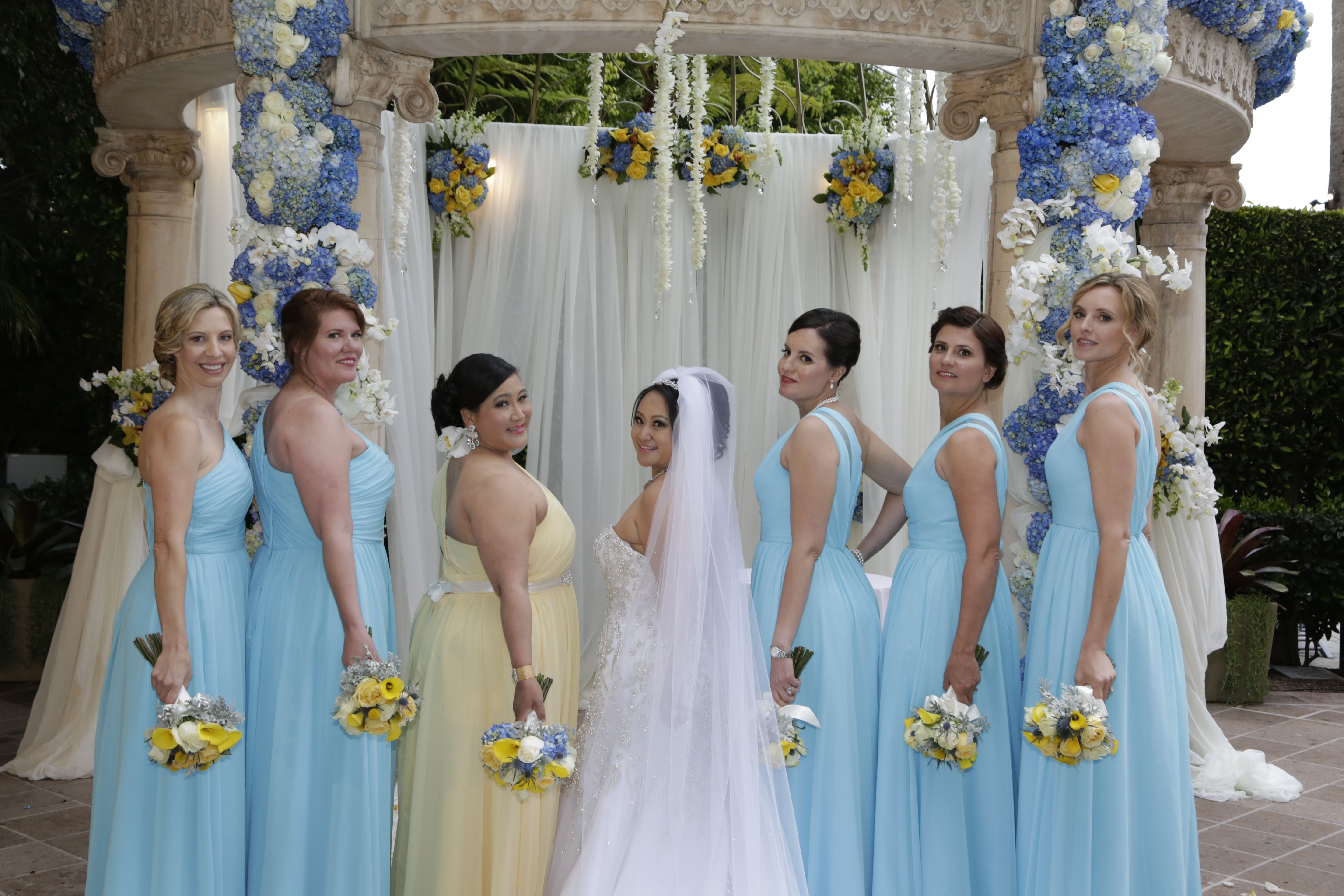 Beautiful bridesmaids in sky blue and butter yellow bridesmaid beautiful bridesmaids in sky blue and butter yellow bridesmaid dresses ombrellifo Gallery
