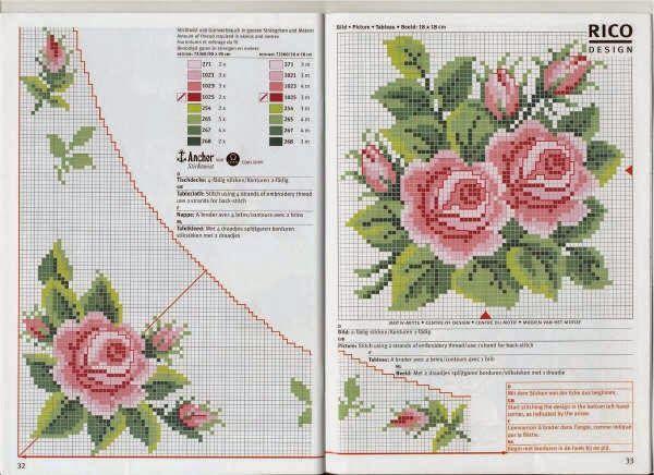 Patrones flores en punto de cruz punto cruz pinterest - Manteles de punto de cruz ...