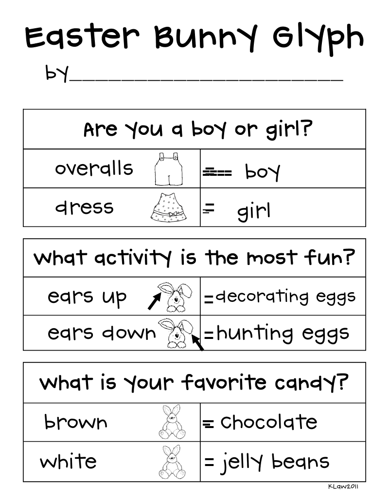 First Grade a la Carte: Easter Bunny glyph | school science and ...