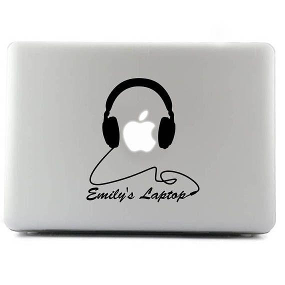 Personal Headphones Emilys Laptop Custom Sticker Decal Laptop - Custom vinyl stickers macbook