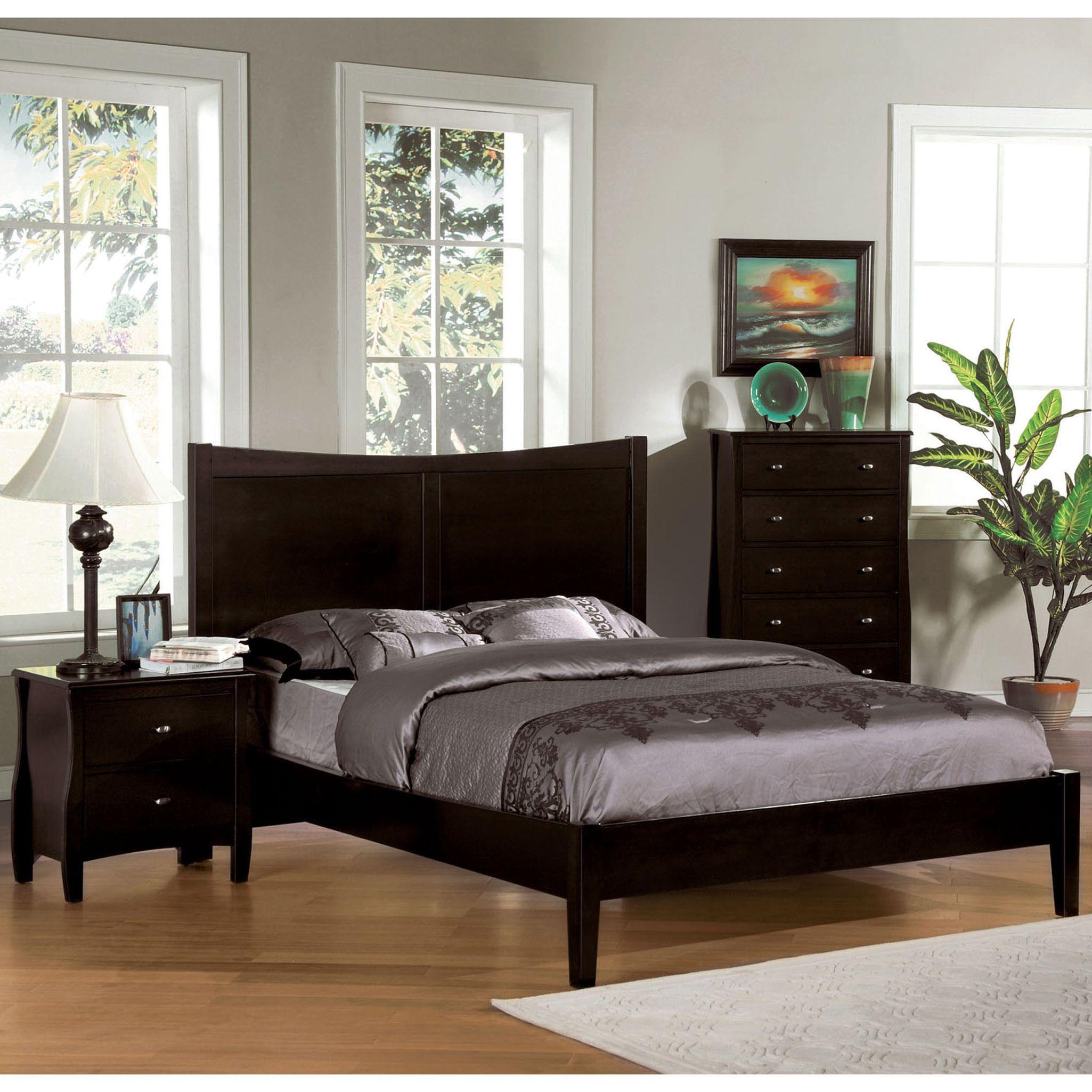 Furniture of America Modern Espresso Cut-Out Headboard Platform Bed ...
