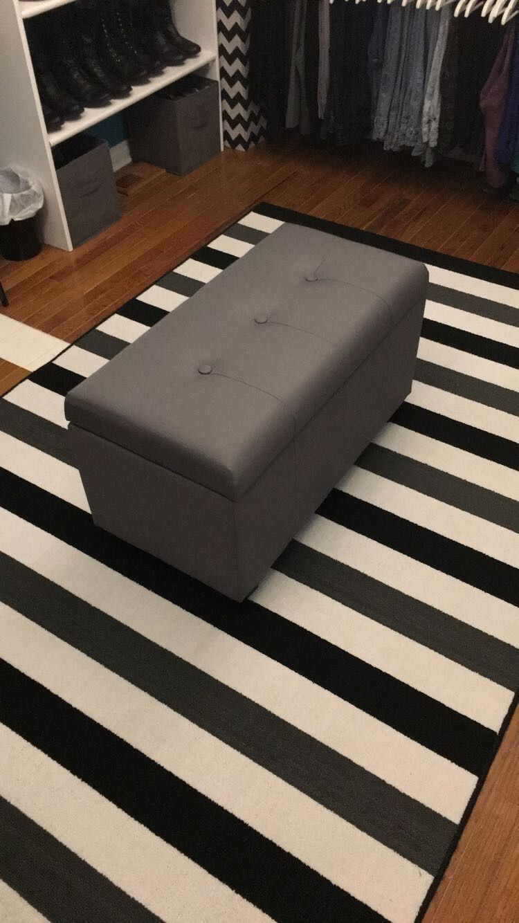 Found This Ottoman Storage Bench At Burlington Coat Factory Of All Places The Black Grey And White Rug Black Storage Bench Bench With Storage Storage Bench