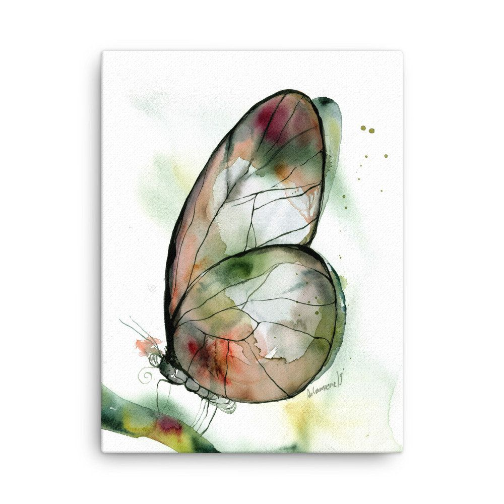 Butterfly Canvas Print - Large or Small Green Watercolor Wall Art by AlisaAdamsoneArt on Etsy