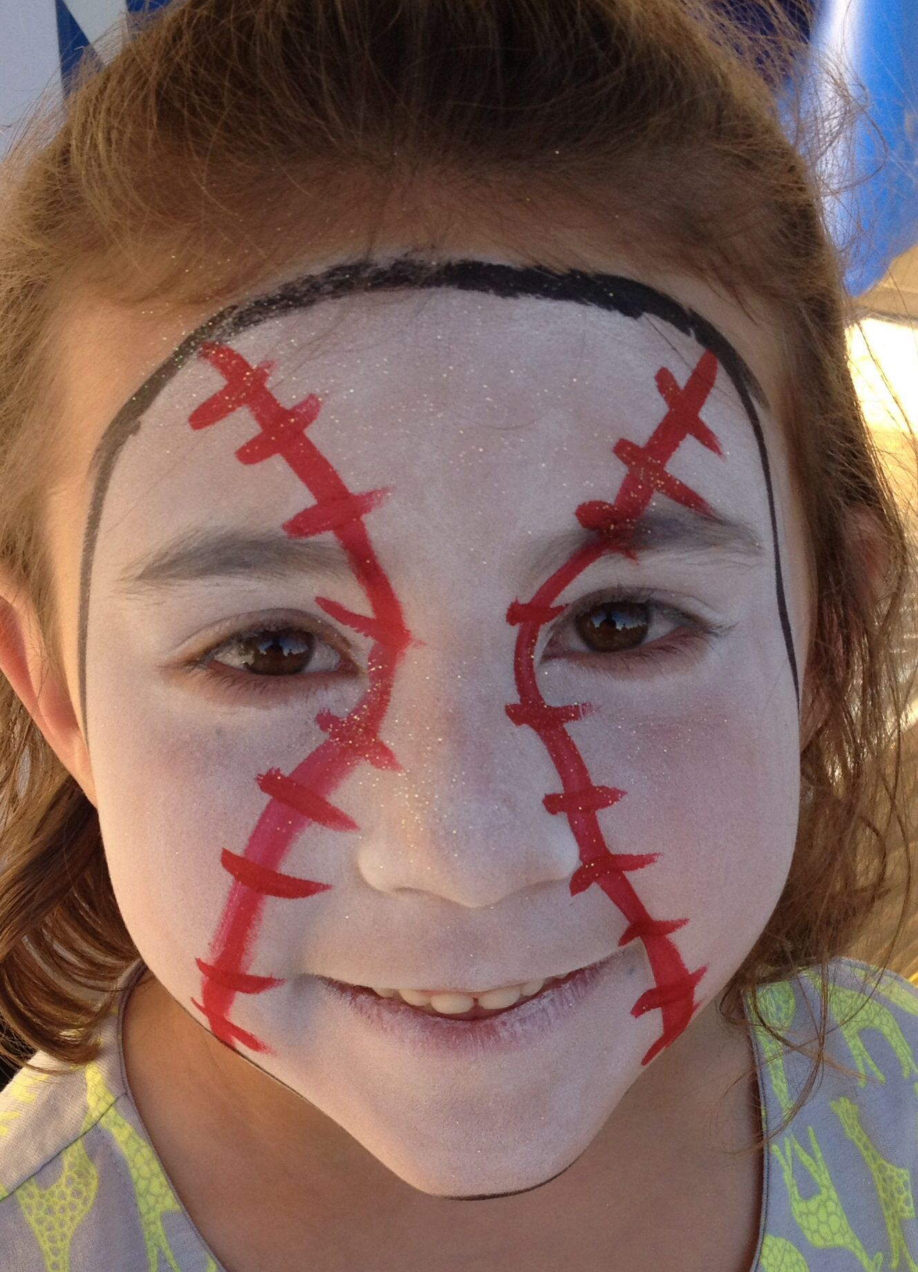 Baseball Face Carnival face paint, Face, Halloween