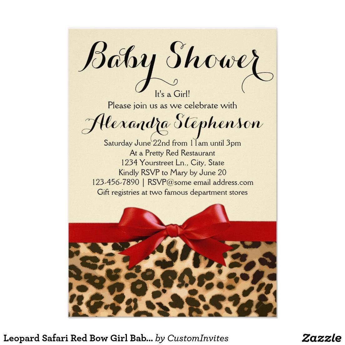 Leopard Safari Red Bow Girl Baby Shower Invitation | Baby Shower ...