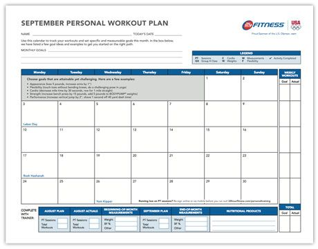 monthly workout planmake a chart to plan workouts