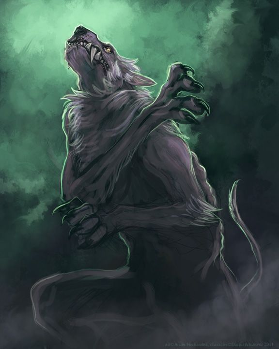 Green And Grey Werewolf Art Vampire Illustration Werewolf