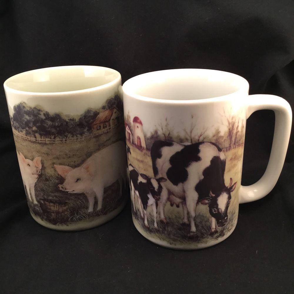 9a1a567c7c4 2 Otagiri Japan Mug Set Pig Cows Coffee Cocoa 8oz cup - Farm Scene Vintage  9oz #Otagiri