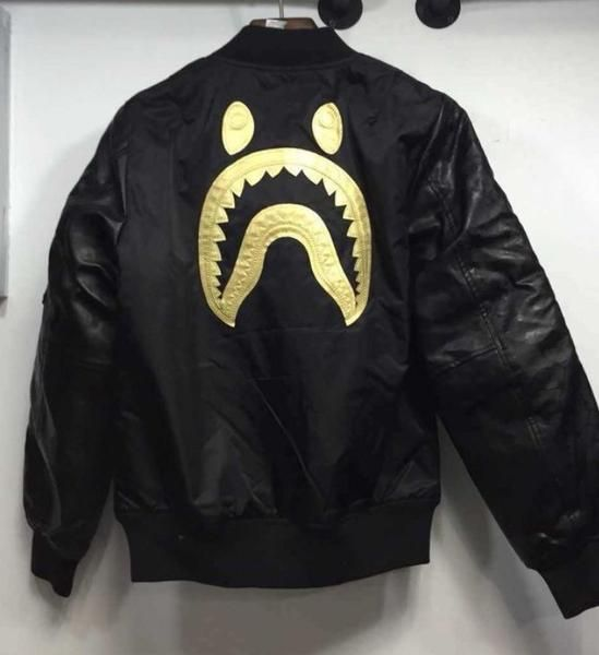 3ea07346e BAPE Gold Standard Shark Bomber Very high quality leather and ...