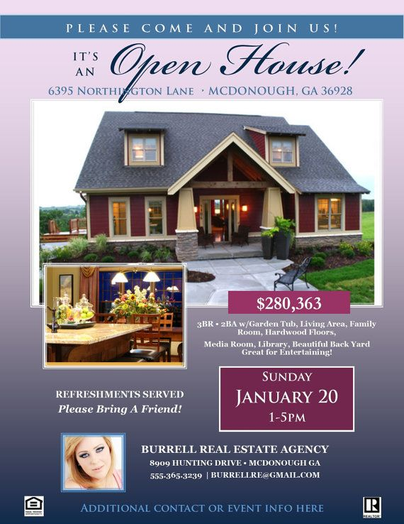REAL ESTATE Open House FLYER Template Microsoft Publisher Template - Real estate flyer template publisher