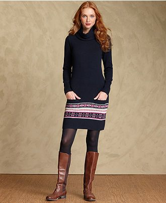 Tommy Hilfiger Dress, Long-Sleeve Fair-Isle Sweater - Womens Tommy ...