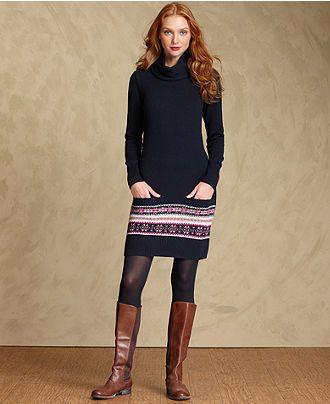 Tommy Hilfiger Dress, Long-Sleeve Fair-Isle Sweater - Womens Tommy ...