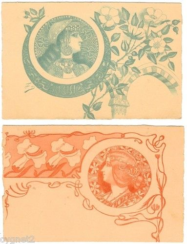 POSTCARDS (2) FRENCH ART NOUVEAU WOMEN WITH FLOWERS | eBay