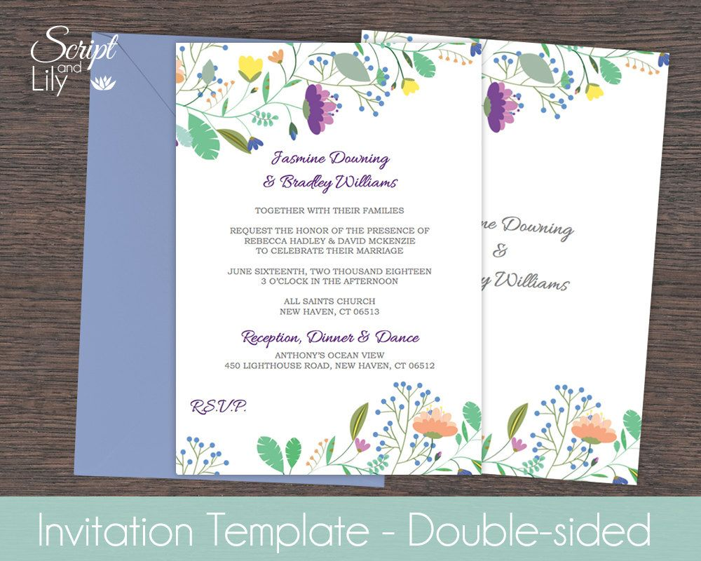 Elegant Wild Flowers Invitation Template | *FREE Color Change | DIY | Edit And  Print At Home | Purple Blue Yellow Green | Word Or Pages 5x7 Inside Pages Invitation Templates Free