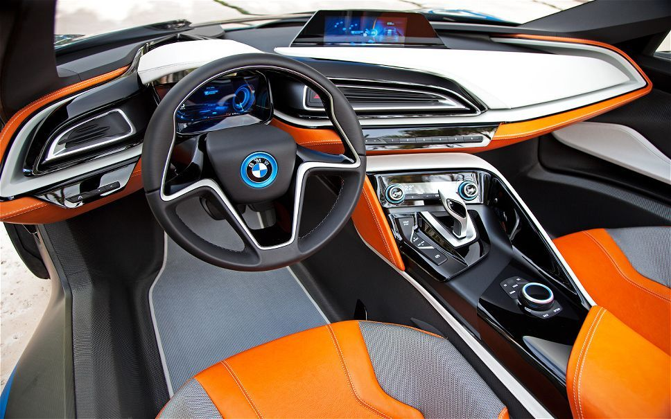 futuristic car interior bmw i8 concept spyder cockpit orange blue black grey dynamic energy. Black Bedroom Furniture Sets. Home Design Ideas