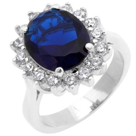 Princess Kylie Clear Cubic Zirconia Blue Color Coated Simple Band Ring Rhodium Plated Sterling Silver