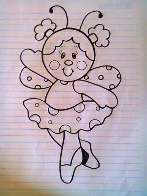 mariquita-bailarina. dibujo | Pintura en tela, madera y vidrio ...