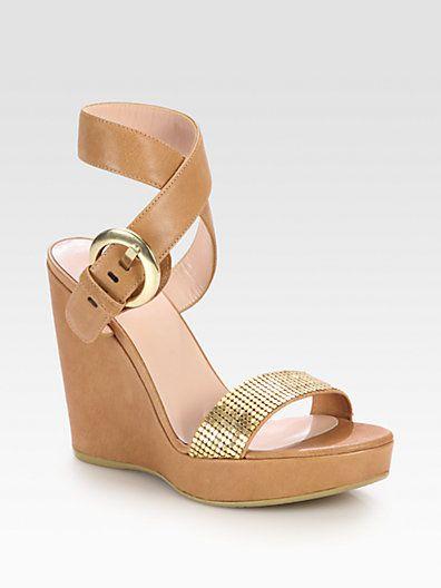 Stuart Weitzman - Romano Embellished Leather Wedge Sandals - Saks.com